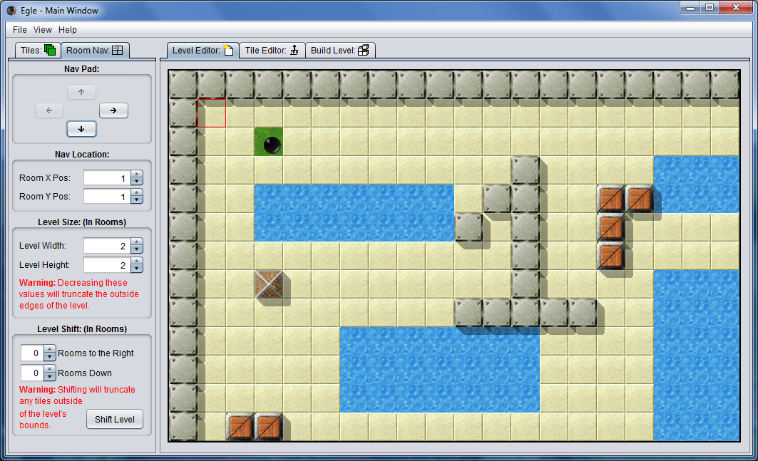 Egle now supports creating multi-room levels. (Room 1)
